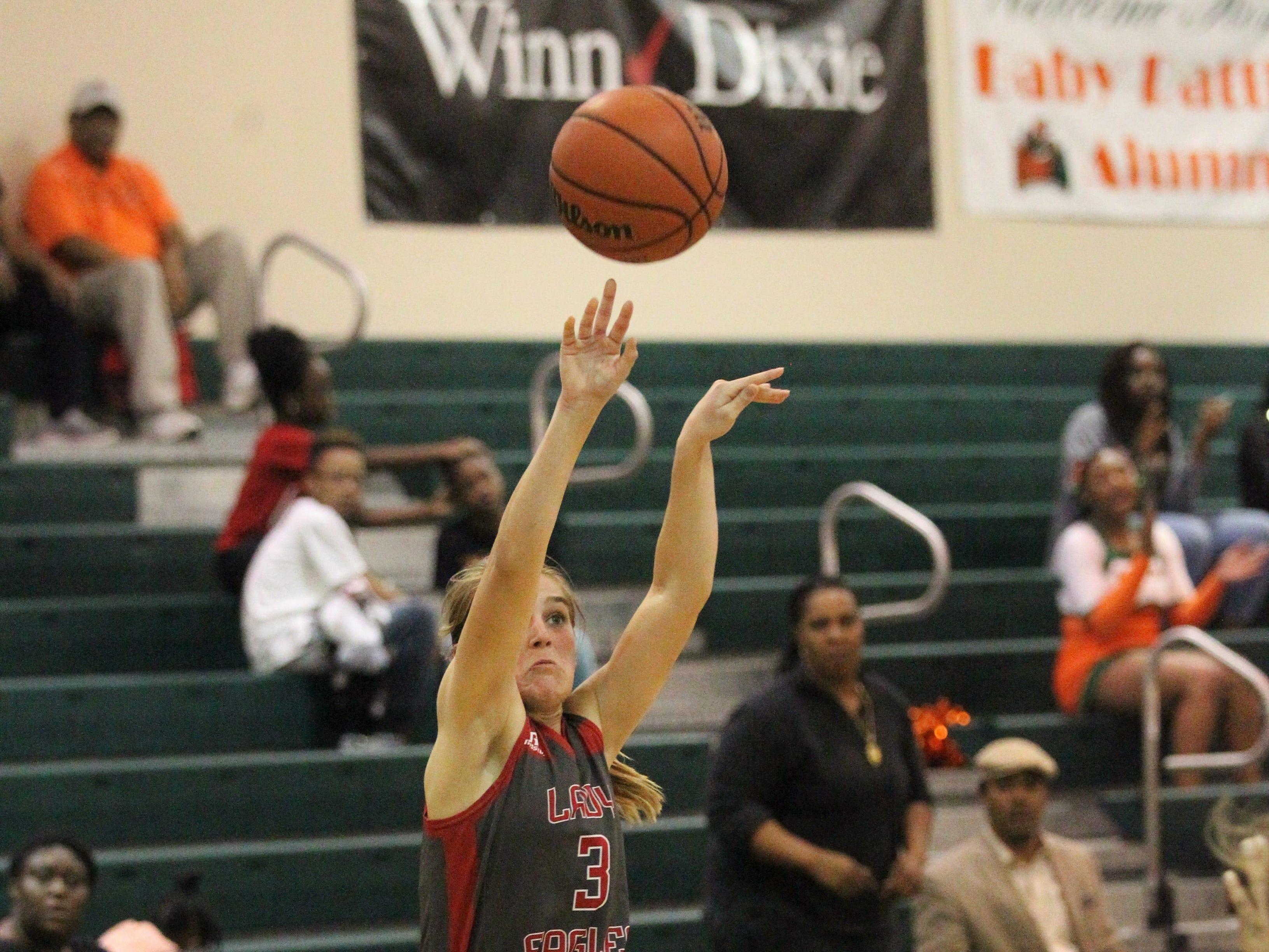 NFC freshman Emma Brice shoots a mid-range jumper as FAMU DRS' girls basketball team beat NFC 59-41 for a District 1-3A title on Jan. 7, 2019.
