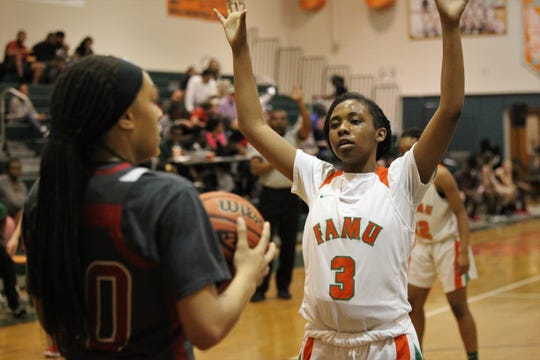 FAMU DRS junior Ashley Reddick guards an inbounds pass on full-court defense as FAMU DRS' girls basketball team beat NFC 59-41 for a District 1-3A title on Jan. 7, 2019.