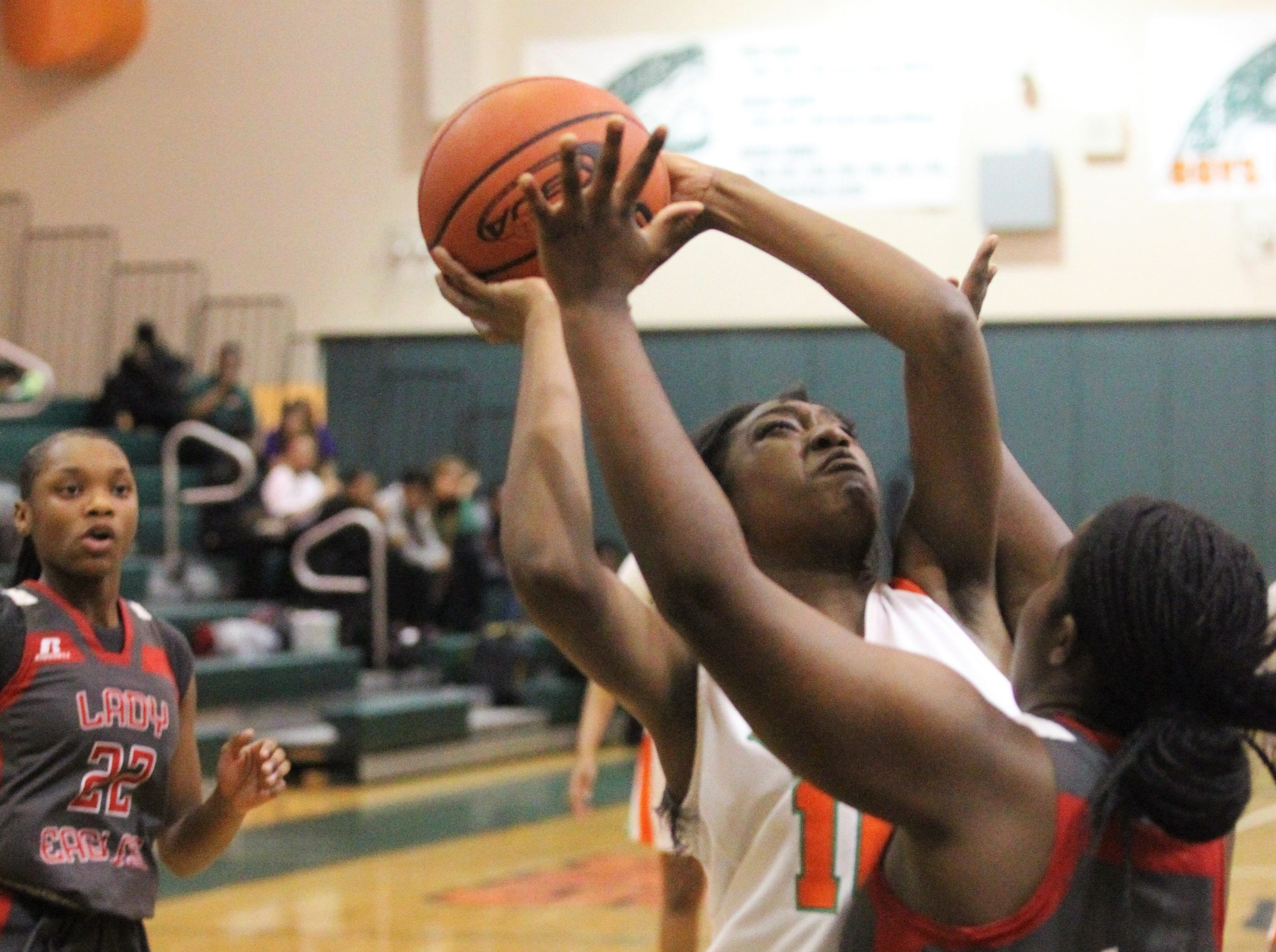 FAMU DRS junior LaTessa Taylor goes up for a layup as FAMU DRS' girls basketball team beat NFC 59-41 for a District 1-3A title on Jan. 7, 2019.