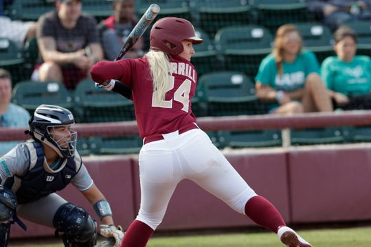 Florida State Seminoles utility player Sydney Sherrill (24) prepares to swing as the Florida State Seminoles host the UNC Wilmington Seahawks in their first game of the season at the Joanne Graf Stadium, Friday Feb. 8, 2019.