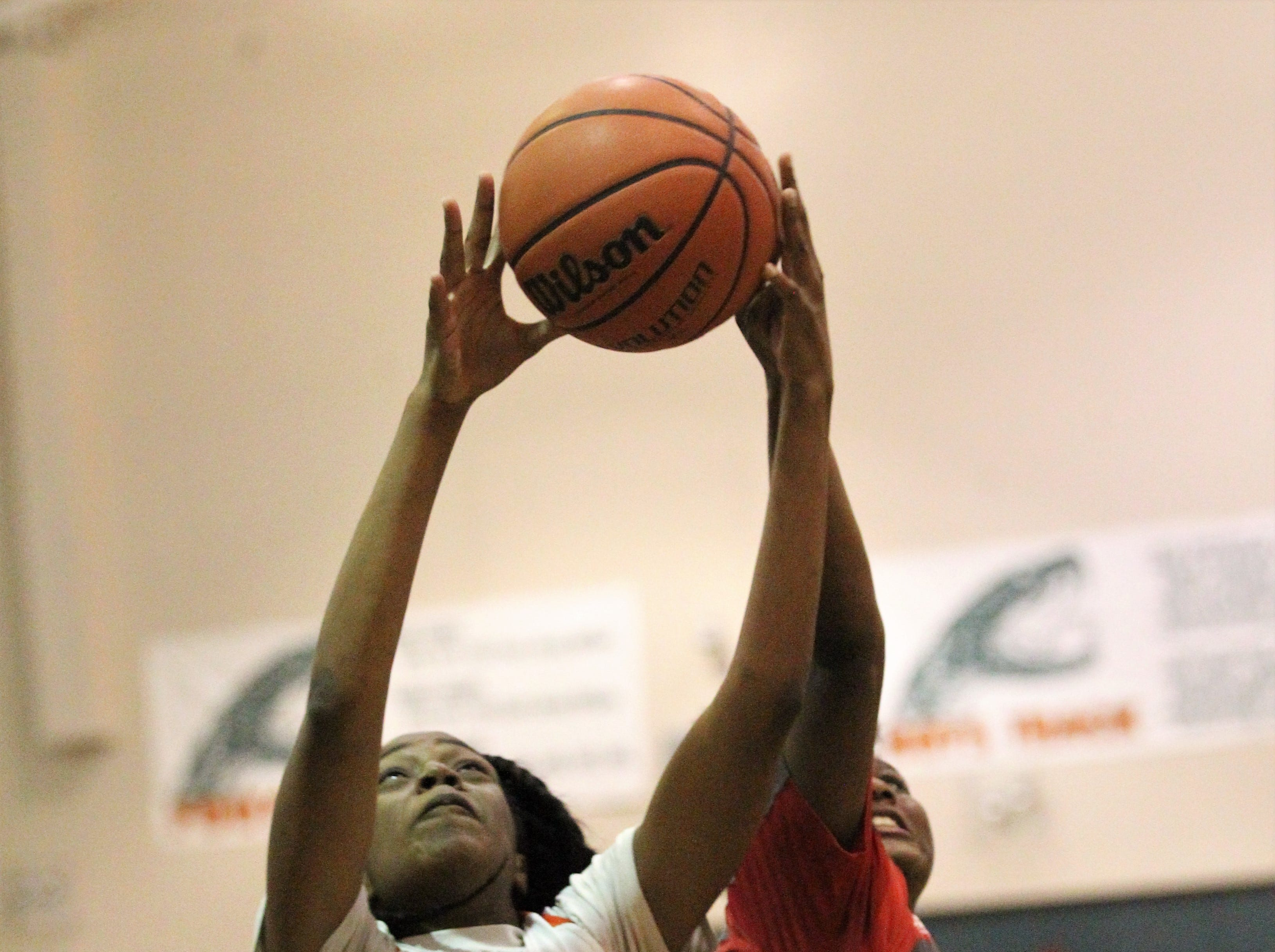 FAMU DRS sophomore Capri Cargill goes up for a rebound as FAMU DRS' girls basketball team beat NFC 59-41 for a District 1-3A title on Jan. 7, 2019.