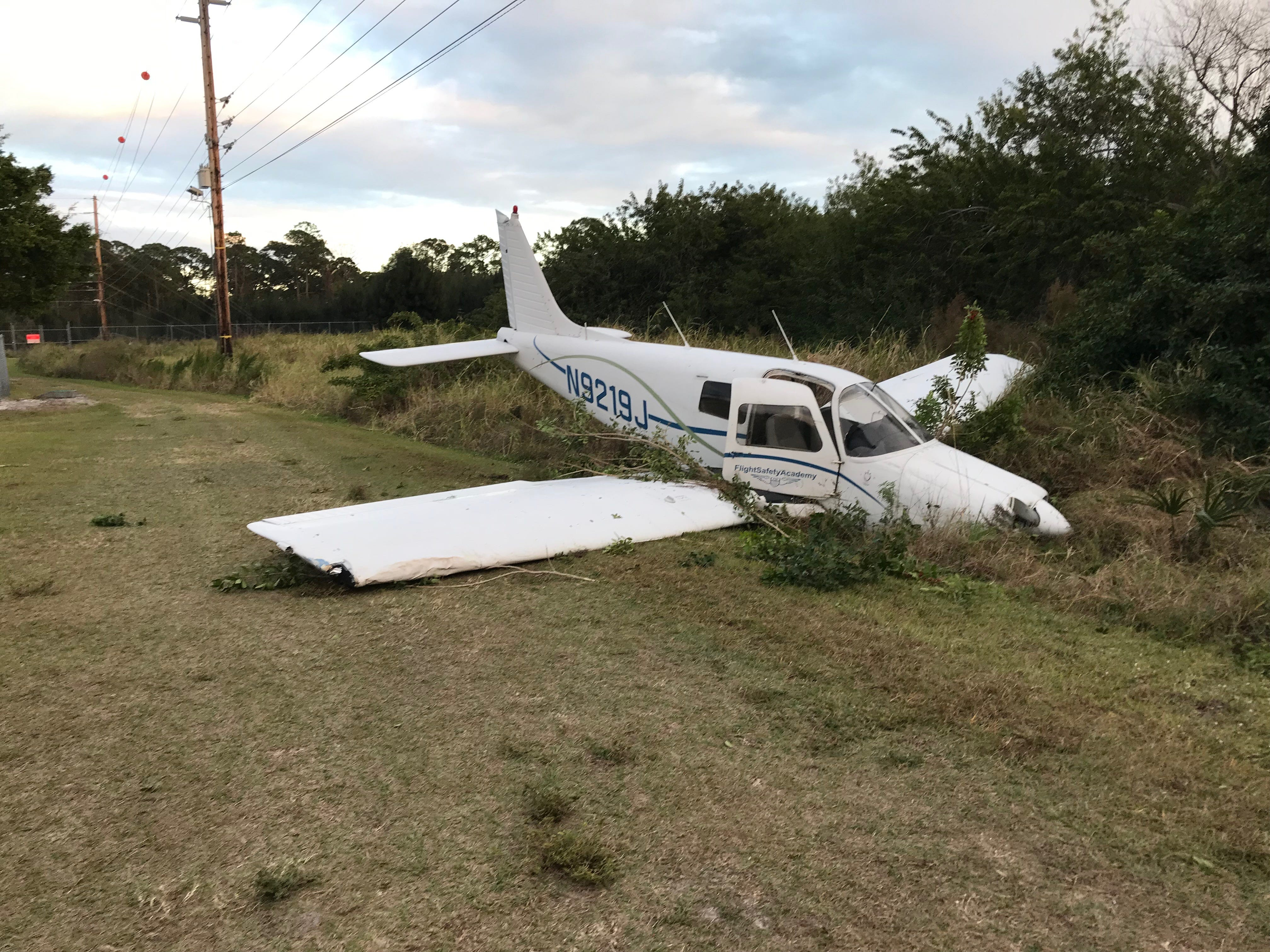 A small plane crash-landed off the Indian River County Jail access road Friday, Feb. 8, 2019.