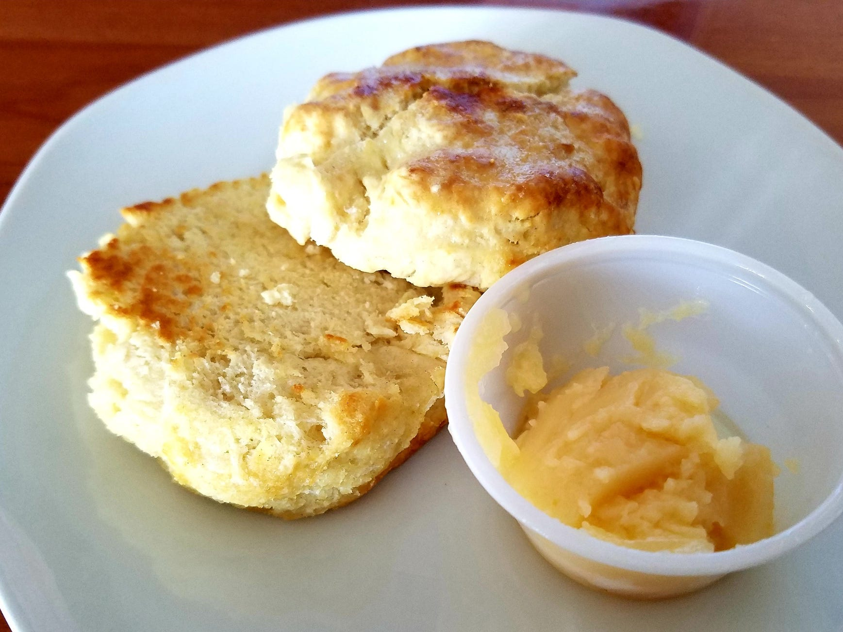 Housemade buttermilk biscuits are baked daily and served with honey butter.