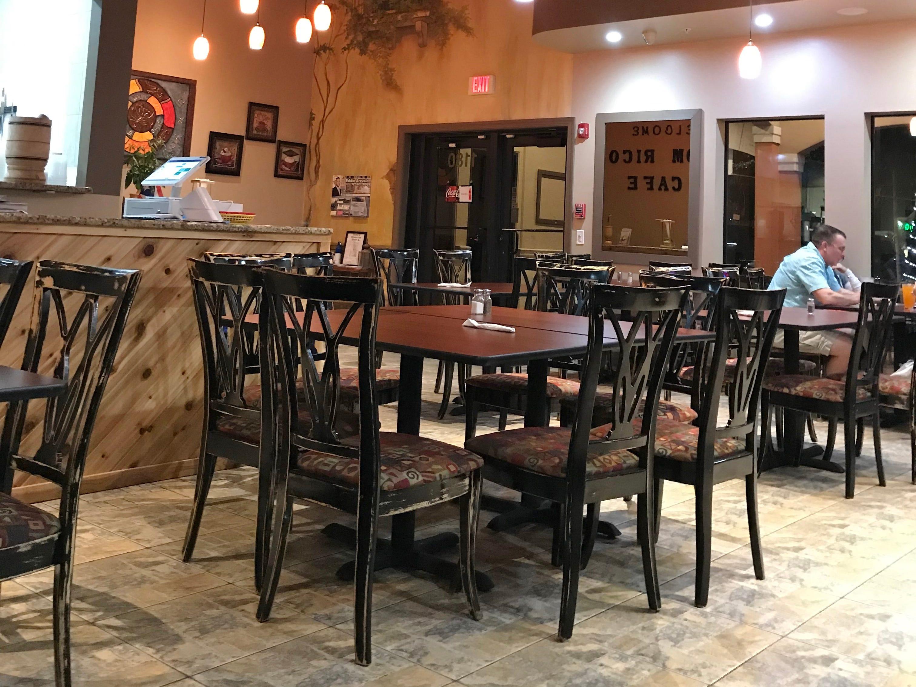 Dom Rico Cafe has a simple earth-tone decor.