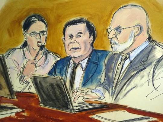 "In this courtroom drawing, Joaquin ""El Chapo"" Guzman, center, sits at the defense table while listening to Judge Brian Cogan addressing the jury, Thursday, Feb. 7, 2019, during Guzman's drug trafficking trial in New York. Jurors ended their first week of deliberations Thursday without reaching a verdict. From left are an interpreter, Guzman and defense attorney Eduardo Balarezo."