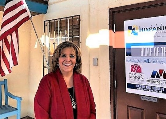 Cindy Ramos-Davidson, chief executive officer of the El Paso Hispanic Chamber of Commerce, outside the chamber's Central El Paso offices in 2019.