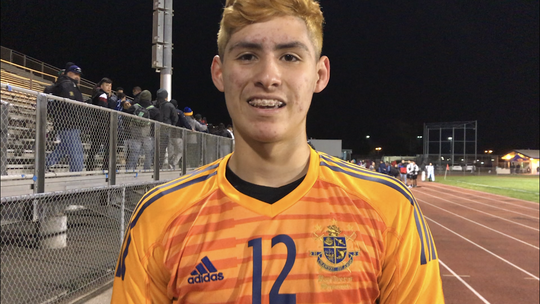 Adrian Contreras saved a penalty kick as the Channel Islands High boys soccer team edged visiting Camarillo 4-3 on PKs in the first round of the CIF-Southern Section Division 2 playoffs on Thursday night.