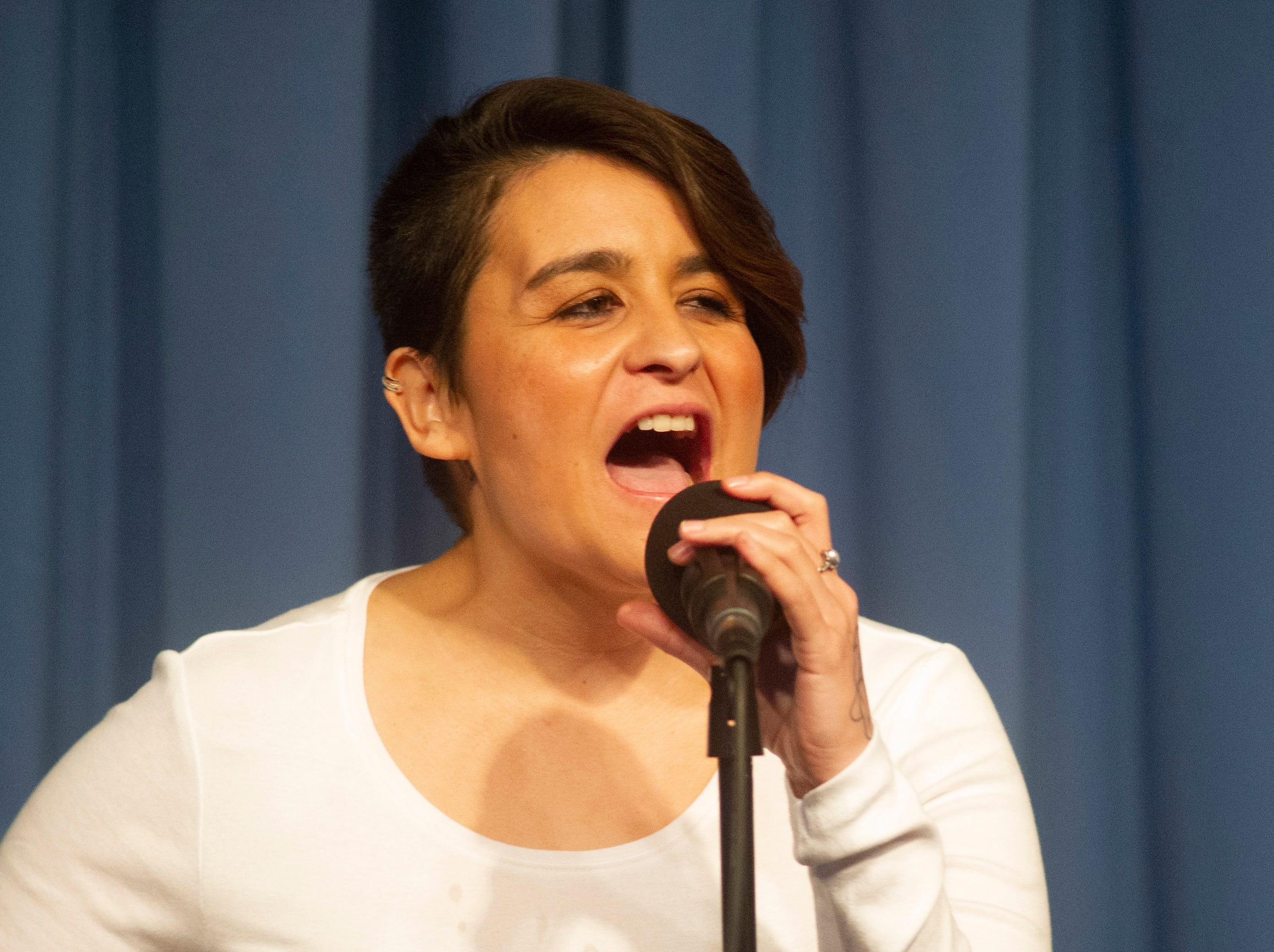 Monique Gonzalez shares the story of finding her passion as part of the live Ventura Storytellers Project event at the Ventura Harbor Comedy Club on Wednesday.