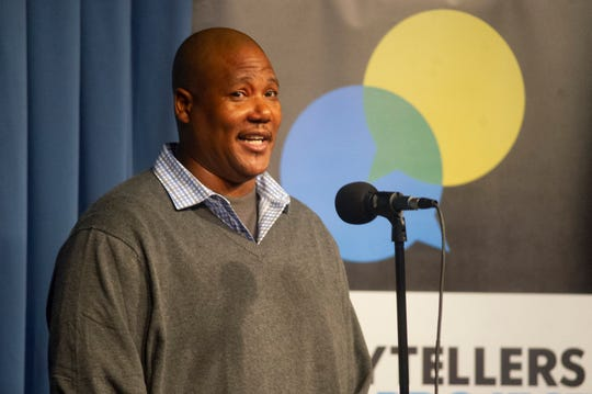 Brian Williams shares a story of growing up in hardship as part of the live Ventura Storytellers Project event at the Ventura Harbor Comedy Club on Wednesday.