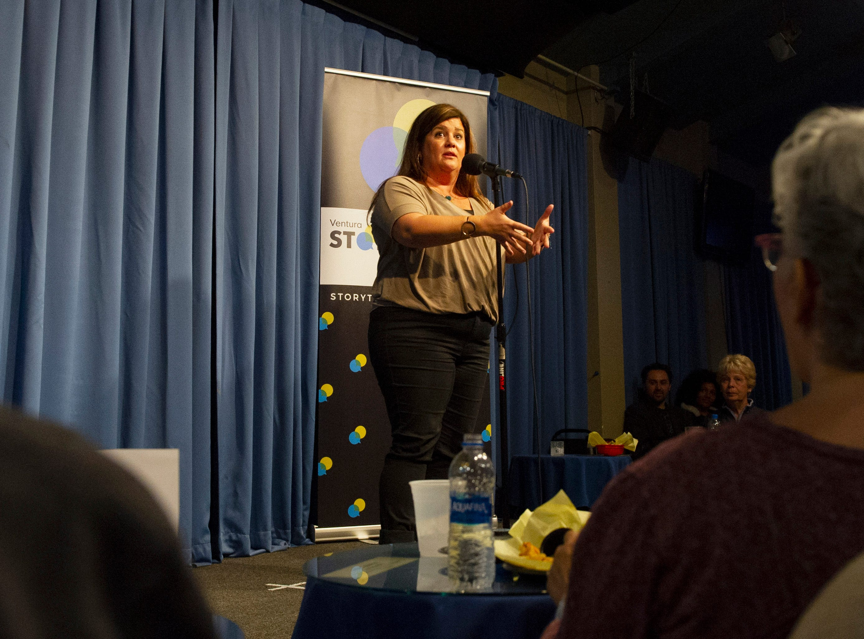 Erin Prewitt shares the story of finding love again after tragedy as part of the live Ventura Storytellers Project event at the Ventura Harbor Comedy Club on Wednesday.