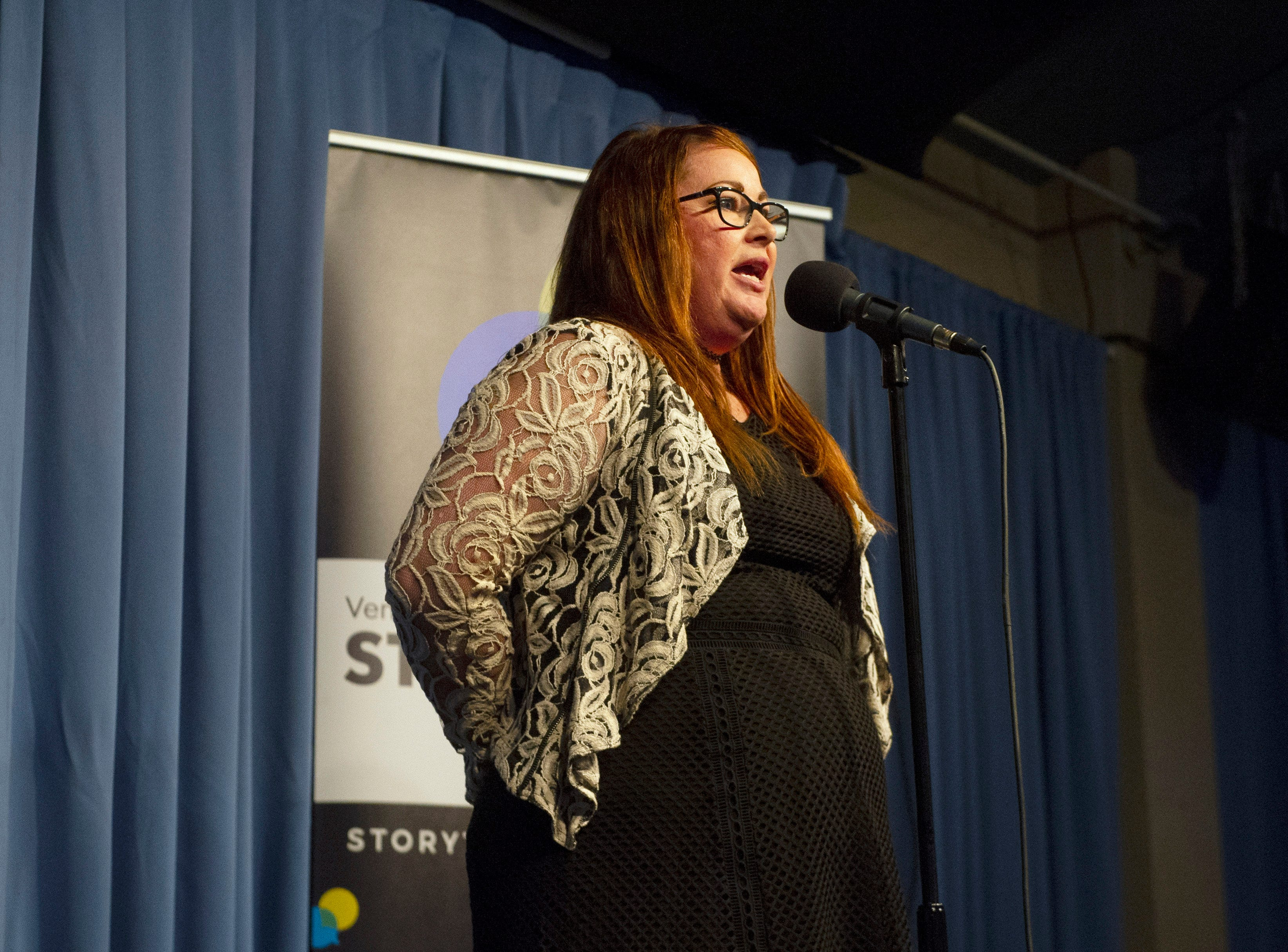 Michelle Rogers shares the of donating a kidney as part of the live Ventura Storytellers Project event at the Ventura Harbor Comedy Club on Wednesday.