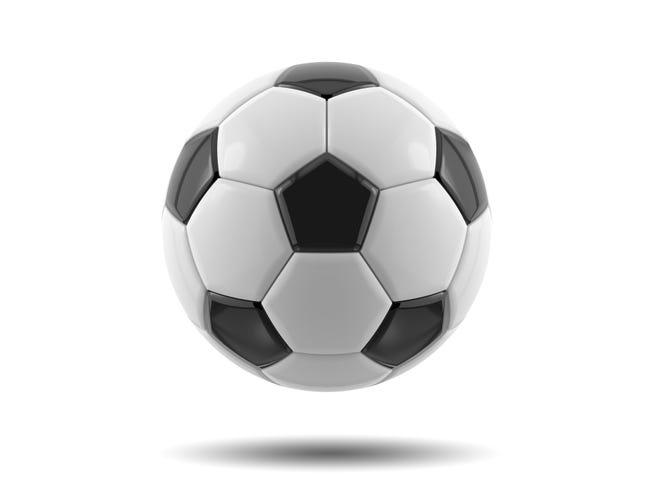 Leather black and white football ball. Soccer ball. 3D illustration