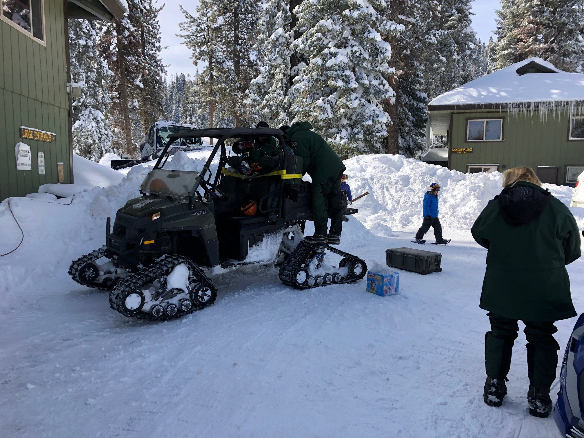 Following a snow storm earlier this week, 120 guests and staff at Sequoia National Forest's Montecito Lake Resort were snowbound.