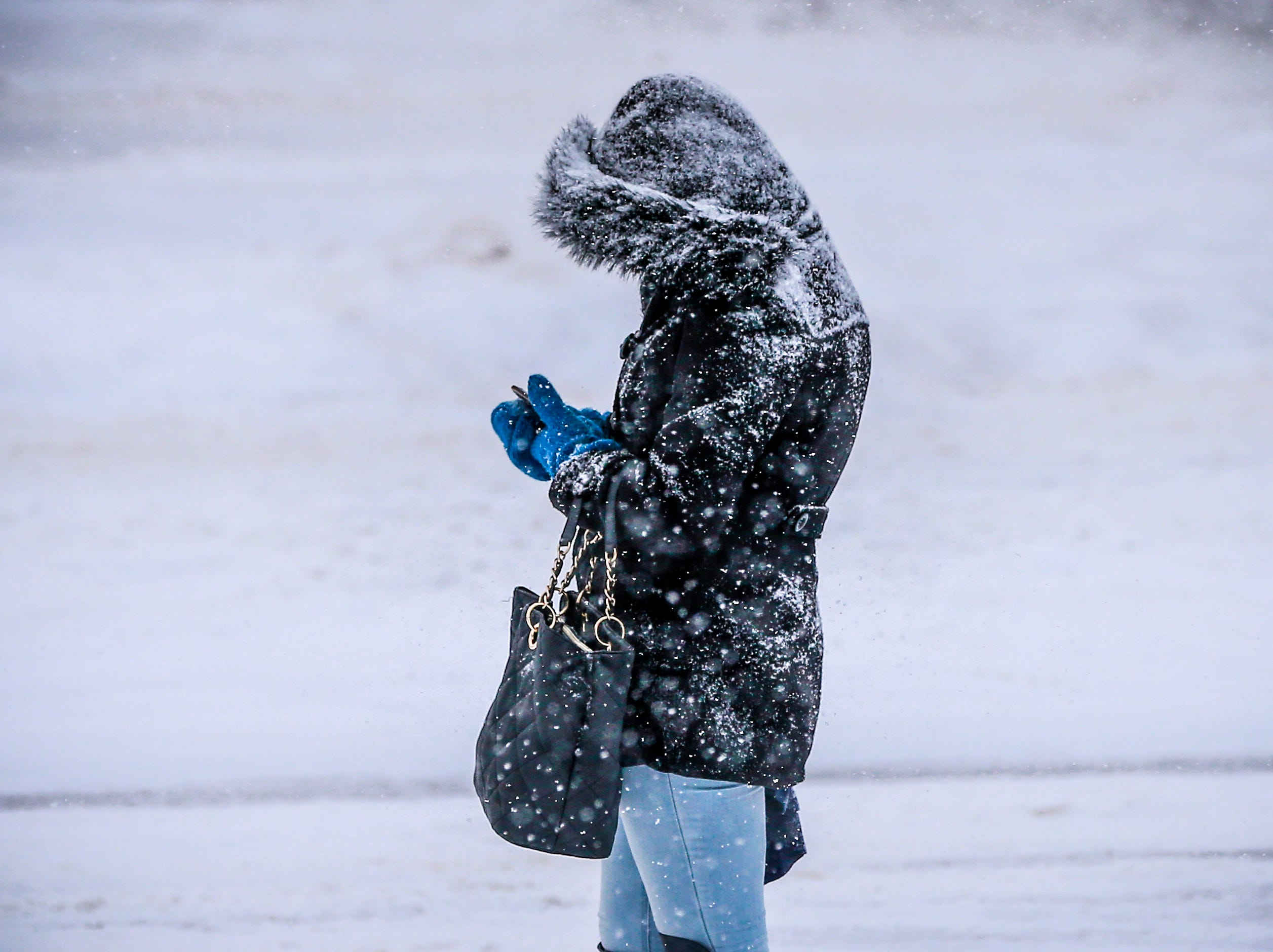 A pedestrian waits for Metro Ride bus alongside Stewart Avenue during a snowstorm Thursday, Feb. 07, 2019, in Wausau, Wis. T'xer Zhon Kha/USA TODAY NETWORK-Wisconsin