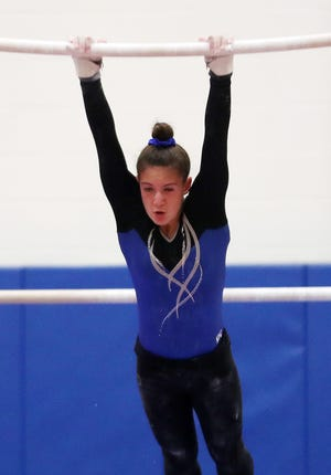 Suffern's Samantha Greenhut competes during the Section 1 gymnastics championships at Carmel High School Feb. 7,  2019.