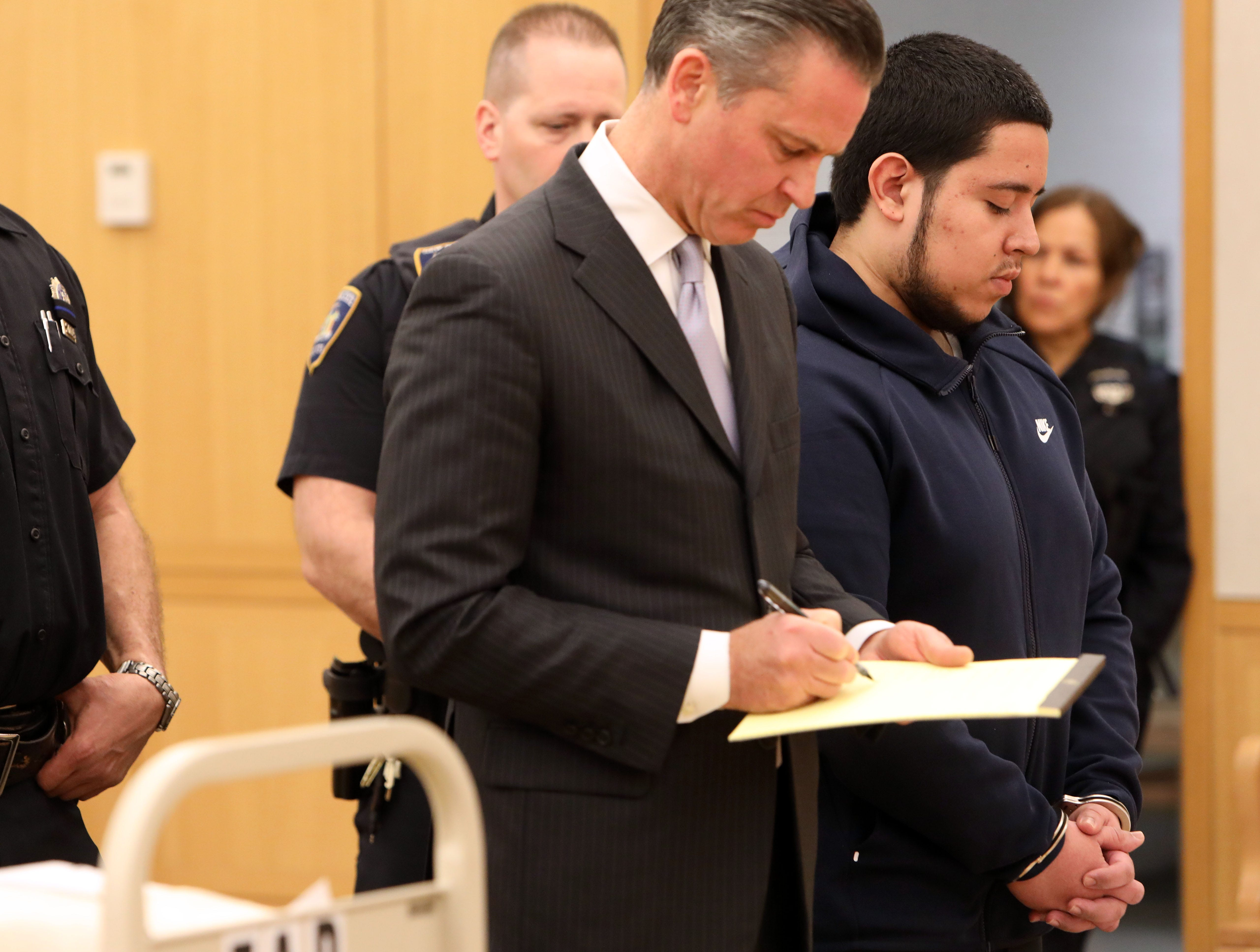 Frank Valencia, a 19-year-old New Rochelle resident, during his sentencing in Westchester County Court on Feb. 8, 2019, to 24 years to life in prison for shooting Yonkers police officer Kayla Maher in 2017.