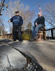 John Gray, Post Commander, left, and Bill McElroy of the American Legion Charles R. & Raymond O. Blauvelt Post 310 in Nyack want the Village to fix the curbs at their headquarters Feb. 8, 2019.