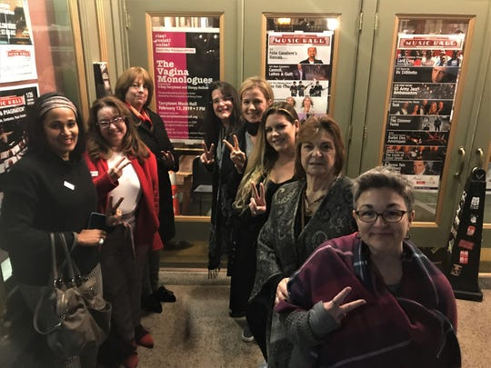 """Among those contributing their talents to the one-night-only Feb. 13 reading of Eve Ensler's """"The Vagina Monologues"""" at Tarrytown Music Hall are, from left: Nazish Muchenbach, CarlLa Horton; Barbara Turk; Christina Kharem; Nancy Puleo; Jasmine Brumley-Taub; Rose Anne Brumley; and Kimberly Marcus."""