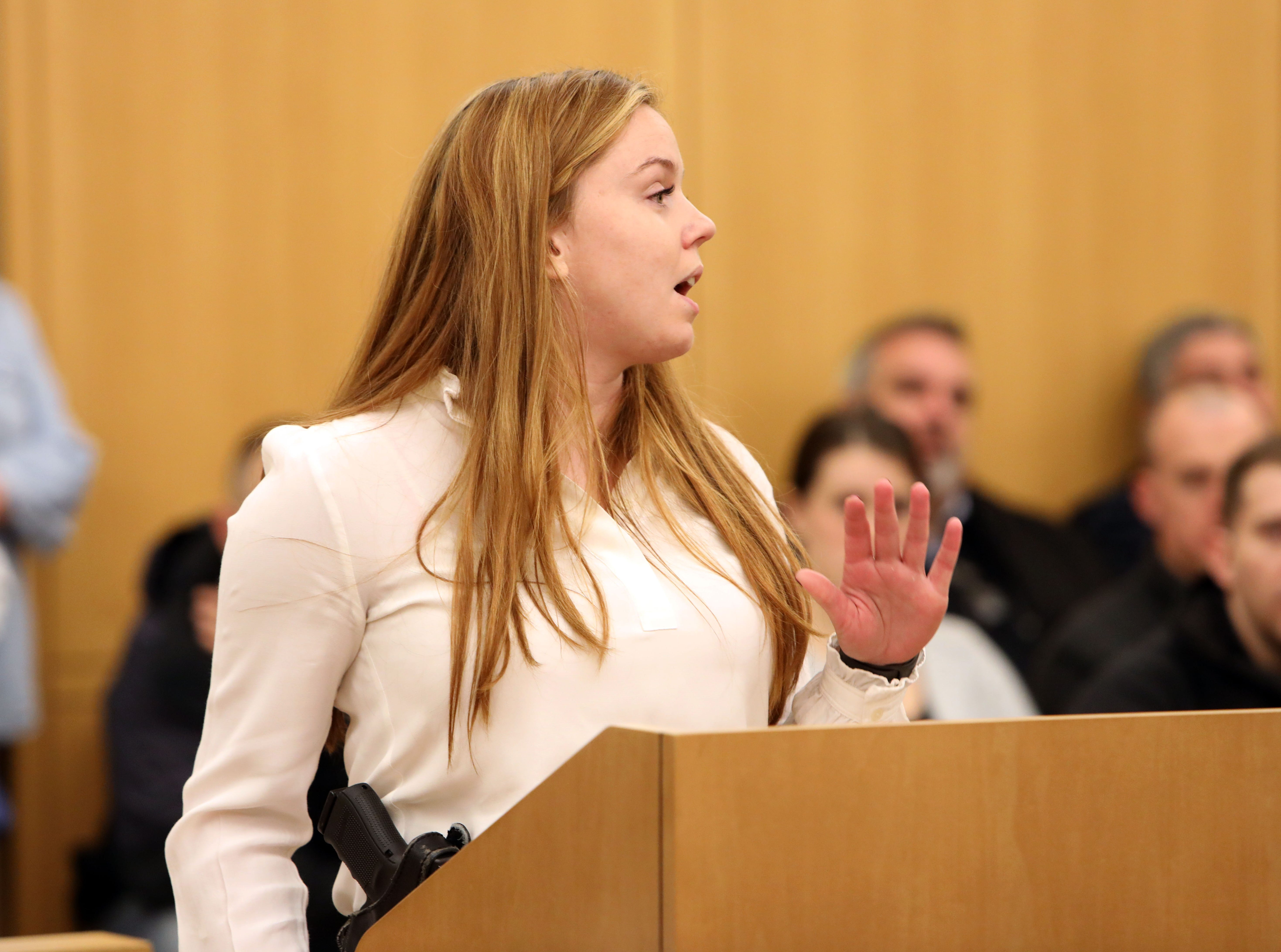Yonkers police detective Kayla Maher addresses her shooter at the sentencing of Frank Valencia in Westchester County Court on Feb. 8, 2019. Valencia shot Maher, a police officer at the time, in Yonkers in 2017.
