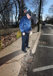 John Gray, Post Commander of the American Legion Charles R. & Raymond O. Blauvelt Post 310 in Nyack wants the Village to fix the curbs at their headquarters Feb. 8, 2019.