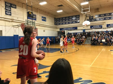 Tappan Zee's Kaleigh Beirne (20) looks to inbound the ball during a girls basketball game against Pearl River. Feb. 7, 2019.