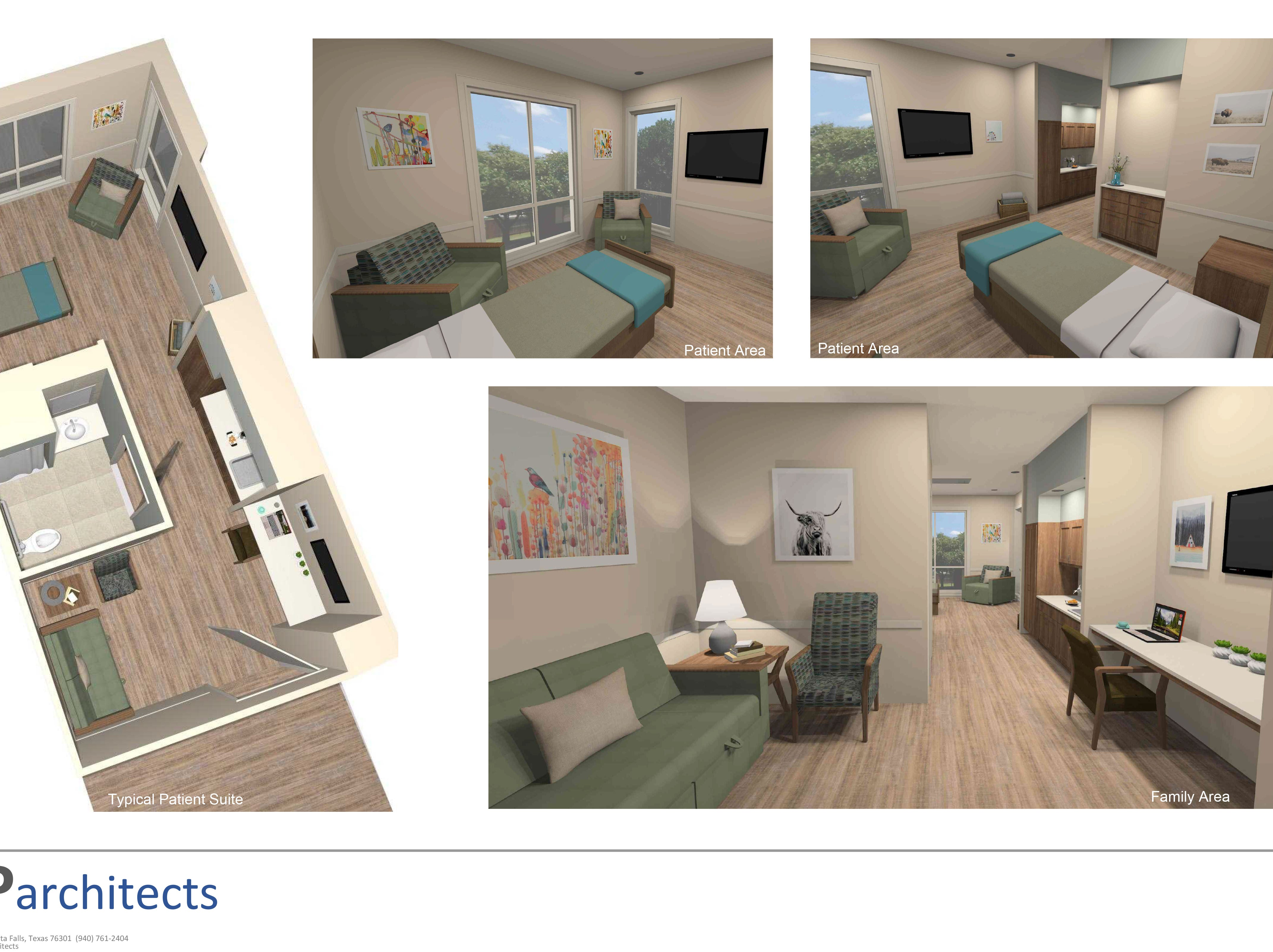 In this conceptual illustration, the 24 inpatient rooms in the planned Hospice of Wichita Falls facility are characterized as suites. The $`5 million capital campaign entered the public phase in February and 83 percent -- $12.4 million -- has been raised.