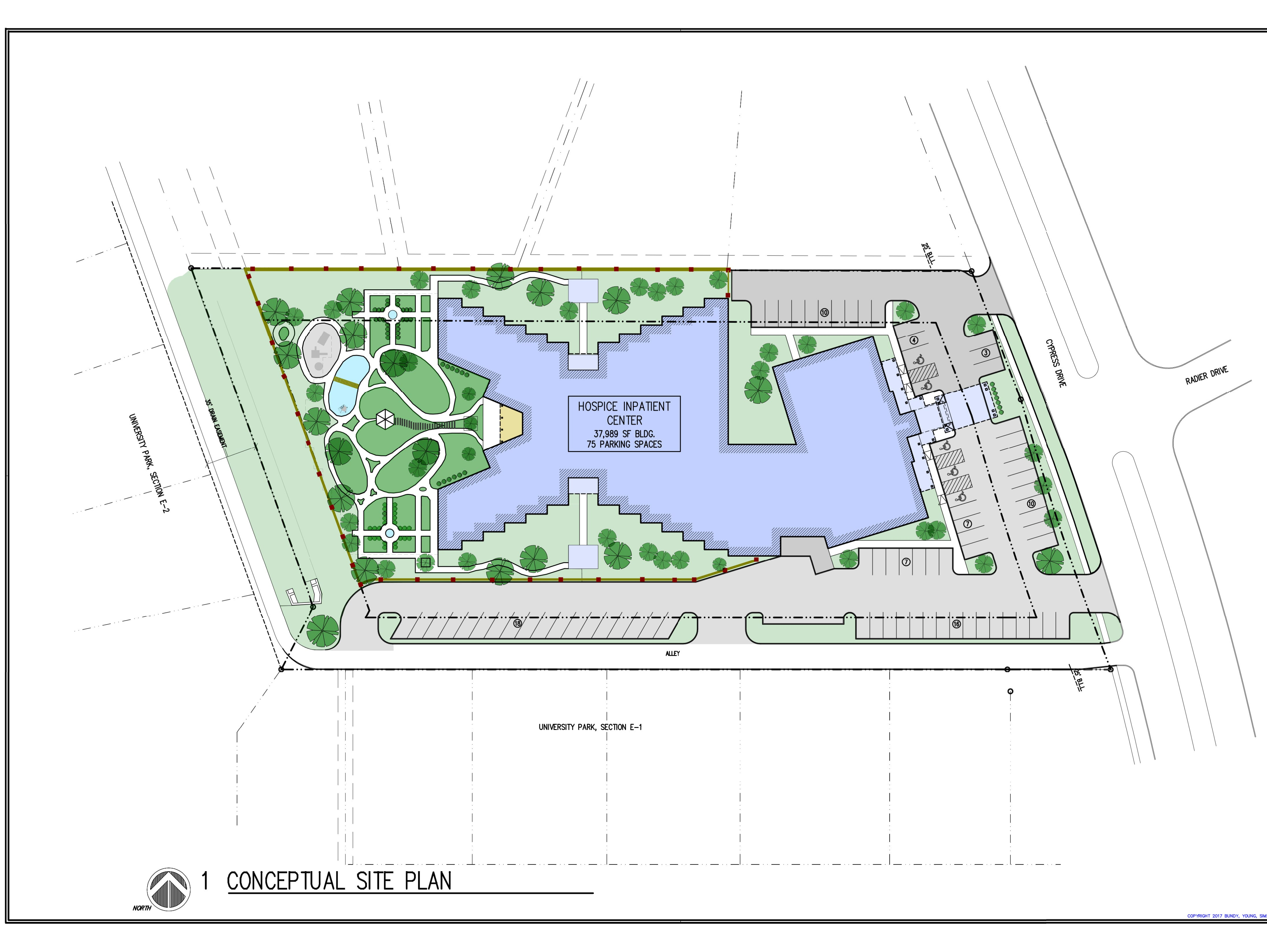In this conceptual site plan, an overhead view of the planned Hospice of Wichita Falls inpatient project shows how the 38,000-square-foot facility will fill the land off Cypress Avenue.