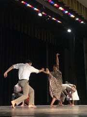 Members of the Dallas Black Dance Theatre company perform Friday morning for Rider High School fine arts students. DBDT will be performing Saturday with the Wichita Falls Ballet Theatre at 3 p.m. at Fain Fine Arts Theatre. Tickets will be available at the door.