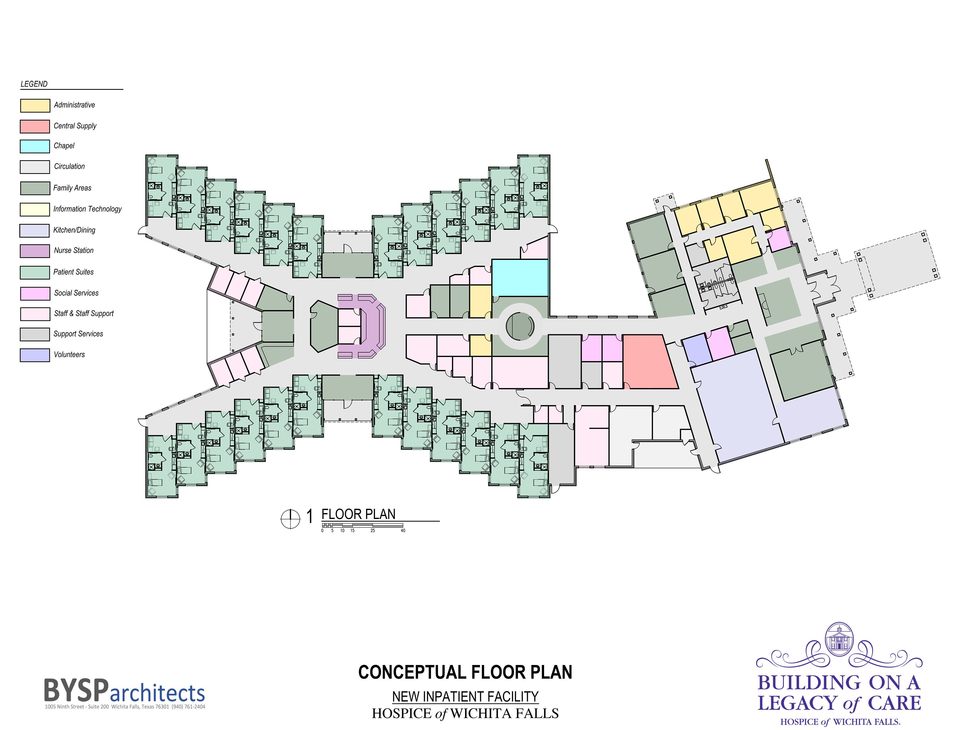 As illustrated in the conceptual floor plan for the planned Hospice of Wichita Falls inpatient facility, the new construction will have 24 inpatient rooms, a chapel, family areas, including children's rooms and a cafe, and meeting rooms.  Ground will be broken when the $15 million capital campaign reaches 100 percent. The facility will be located on Cypress Avenue, across from Rider High School.