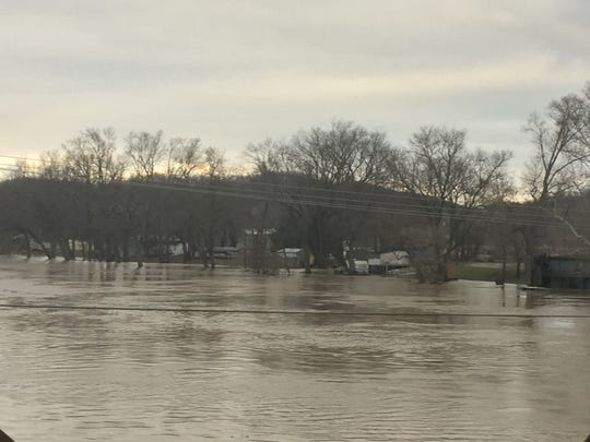 Flooding in the area of Shady Lane Friday morning.