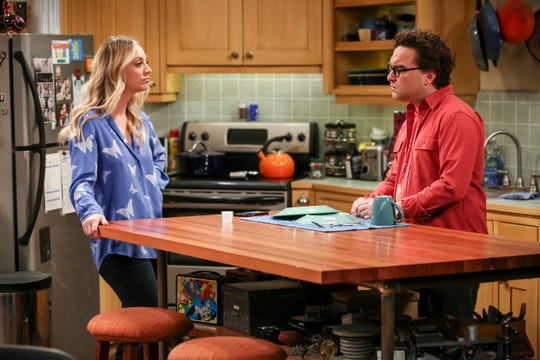 Penny (Kaley Cuoco), left, and Leonard Hofstadter (Johnny Galecki) started as neighbors and are now a married couple on CBS's 'The Big Bang Theory.'
