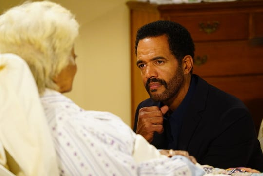 "Kristoff St. John acts alongside Nichelle Nichols on the 11,000th episode of ""Y&R"" in 2016."