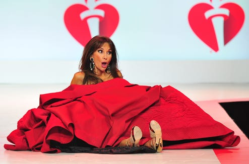 Susan Lucci took a tumble Thursday night while modeling in a show for the American Heart Association's Go Red for Women Red Dress Collection 2019.