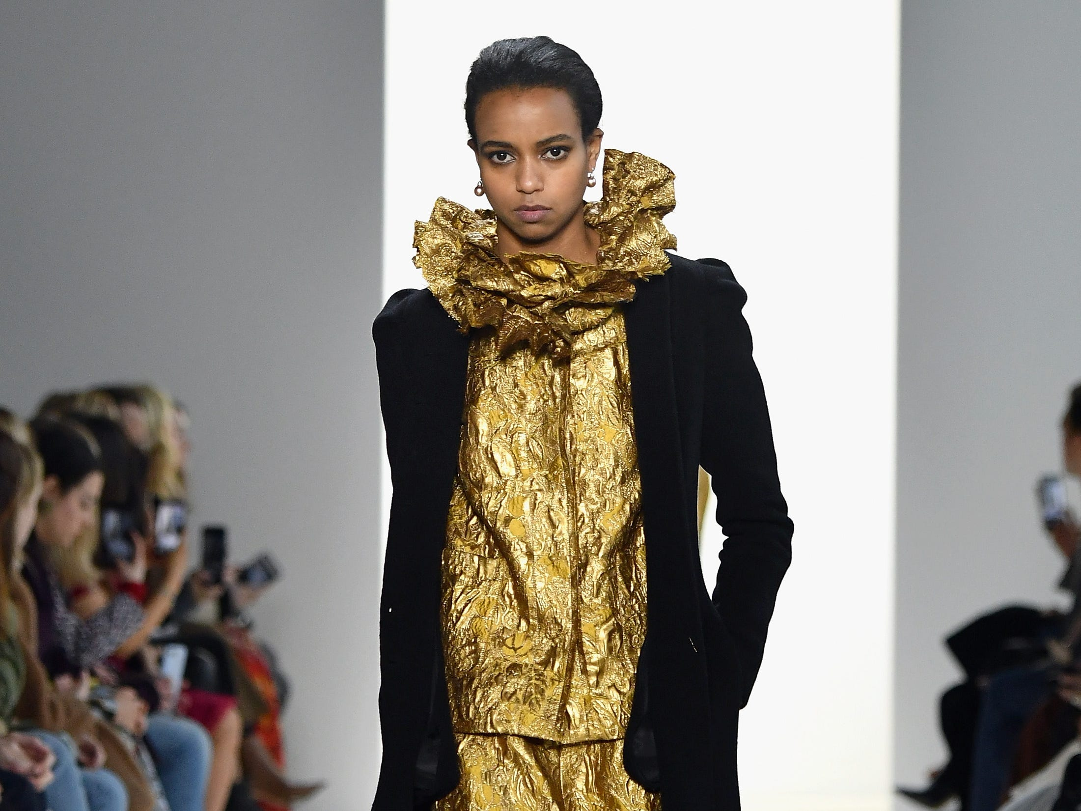 NEW YORK, NY - FEBRUARY 08:  A model walks the runway for the Brock Collection fashion show during New York Fashion Week: The Shows at Gallery I at Spring Studios on February 8, 2019 in New York City.  (Photo by Mike Coppola/Getty Images for NYFW: The Shows) ORG XMIT: 775289359 ORIG FILE ID: 1095510512