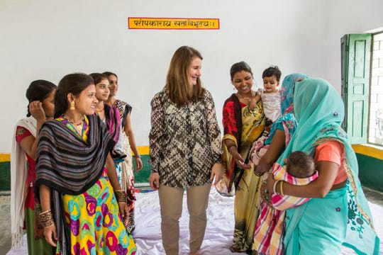 Melinda Gates, co-chair of the Bill and Melinda Gates Foundation, interacts with young married women who belong to a YWSHG (Young Women Self Help Group) in a room in the Government Primary School during her visit to Kola village, Barabanki District, Uttar Pradesh, India on March 13, 2016.