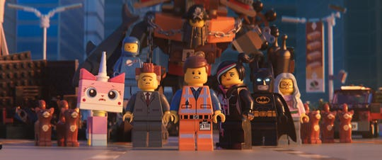 "Unikitty (Alison Brie), Benny (Charlie Day), President Business (Will Ferrell), MetalBeard (Nick Offerman), Emmet (Christ Pratt), Lucy/Wyldstyle (Elizabeth Banks) and Batman (Will Arnett) star in ""The Lego Movie 2: The Second Part."""