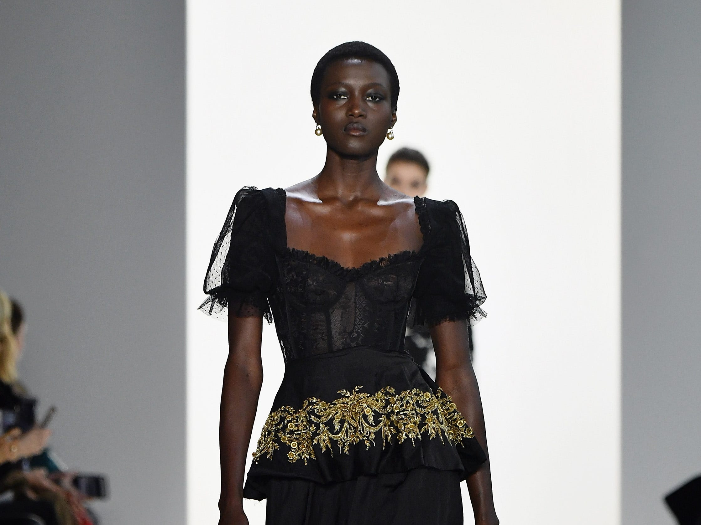 NEW YORK, NY - FEBRUARY 08:  A model walks the runway for the Brock Collection fashion show during New York Fashion Week: The Shows at Gallery I at Spring Studios on February 8, 2019 in New York City.  (Photo by Mike Coppola/Getty Images for NYFW: The Shows) ORG XMIT: 775289359 ORIG FILE ID: 1095510484