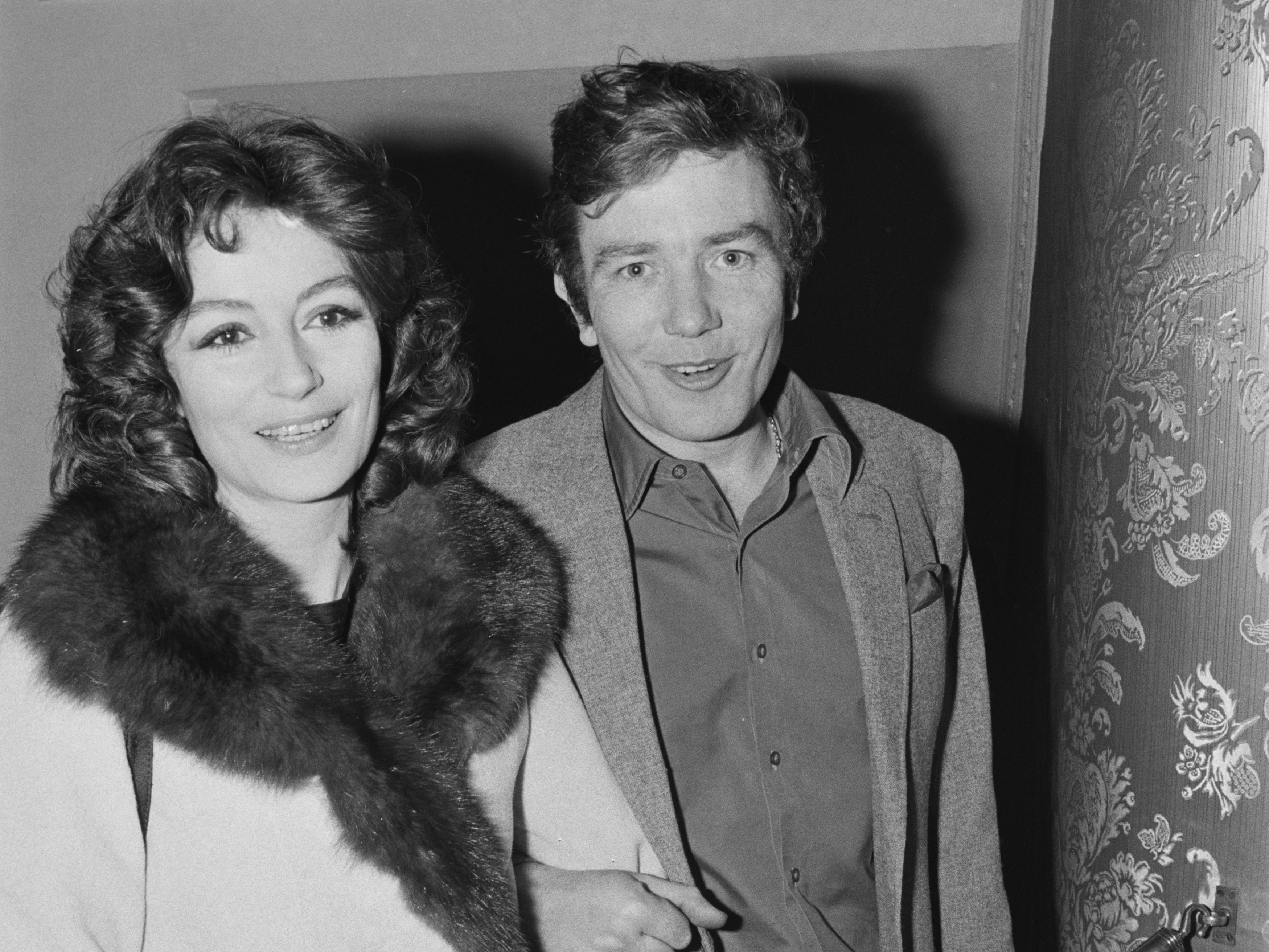 Albert Finney and his wife, French actress Anouk Aimée at the Apollo Theatre in London, 24th April 1971.