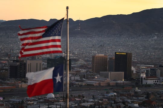 The skyline of El Paso, Texas, and Juárez, Mexico, is seen Jan. 19, 2019, in El Paso.