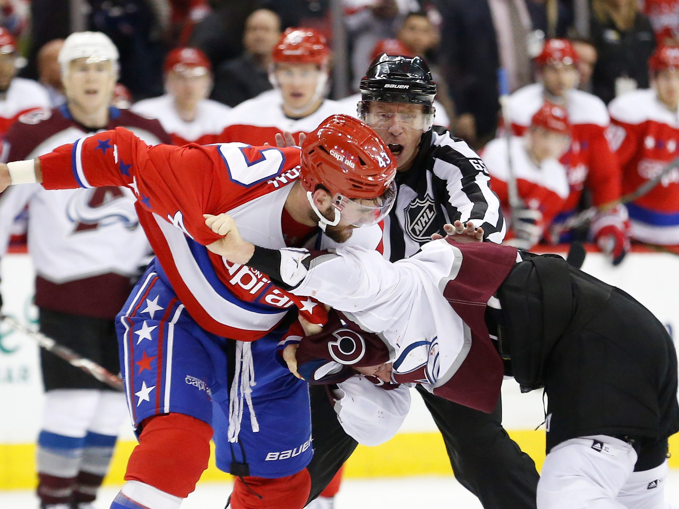 Feb 7: Washington Capitals right wing Tom Wilson, left, fights Colorado Avalanche defenseman Ian Cole.