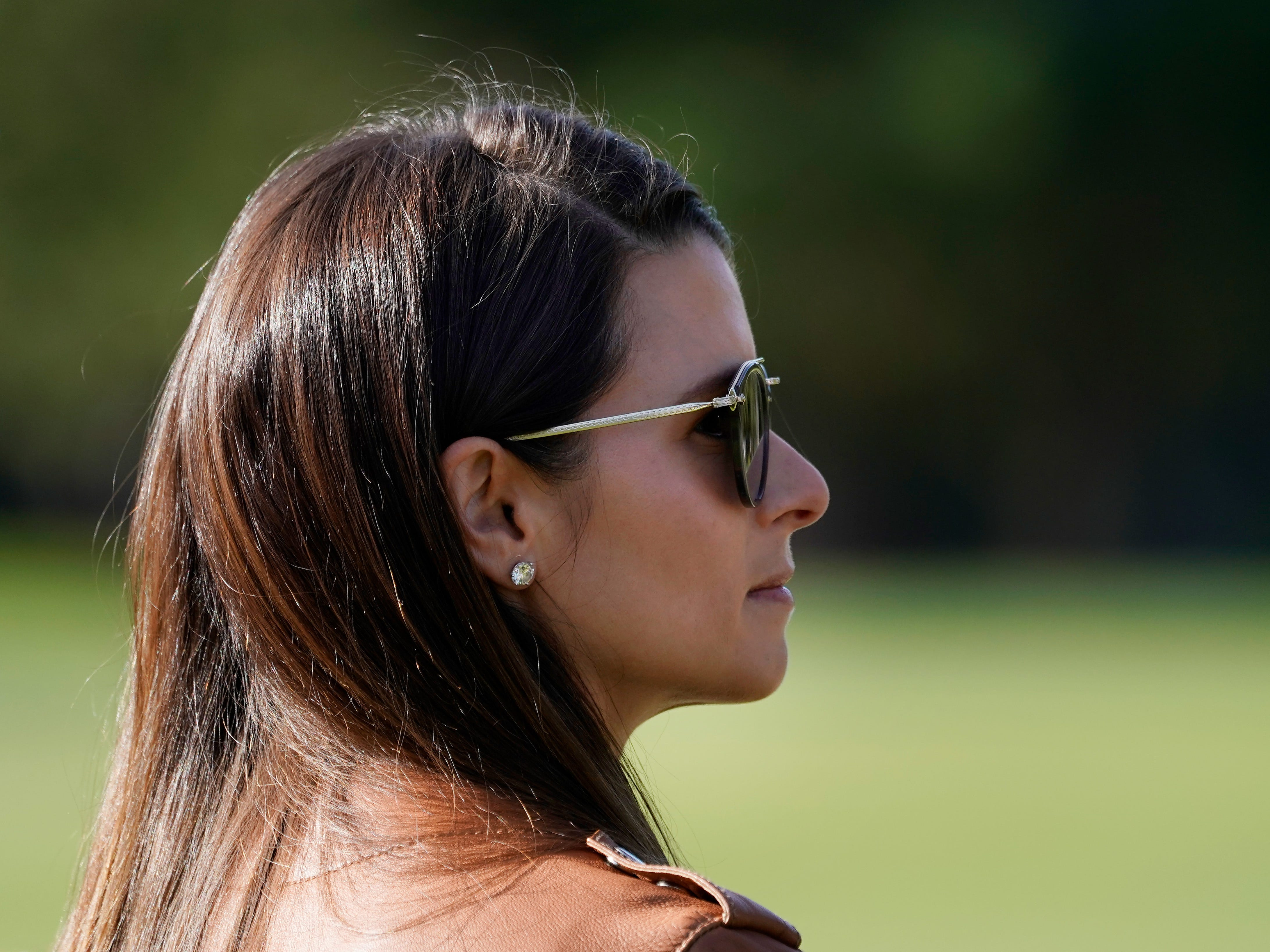Danica Patrick looks on during the first round of the AT&T Pebble Beach Pro-Am.
