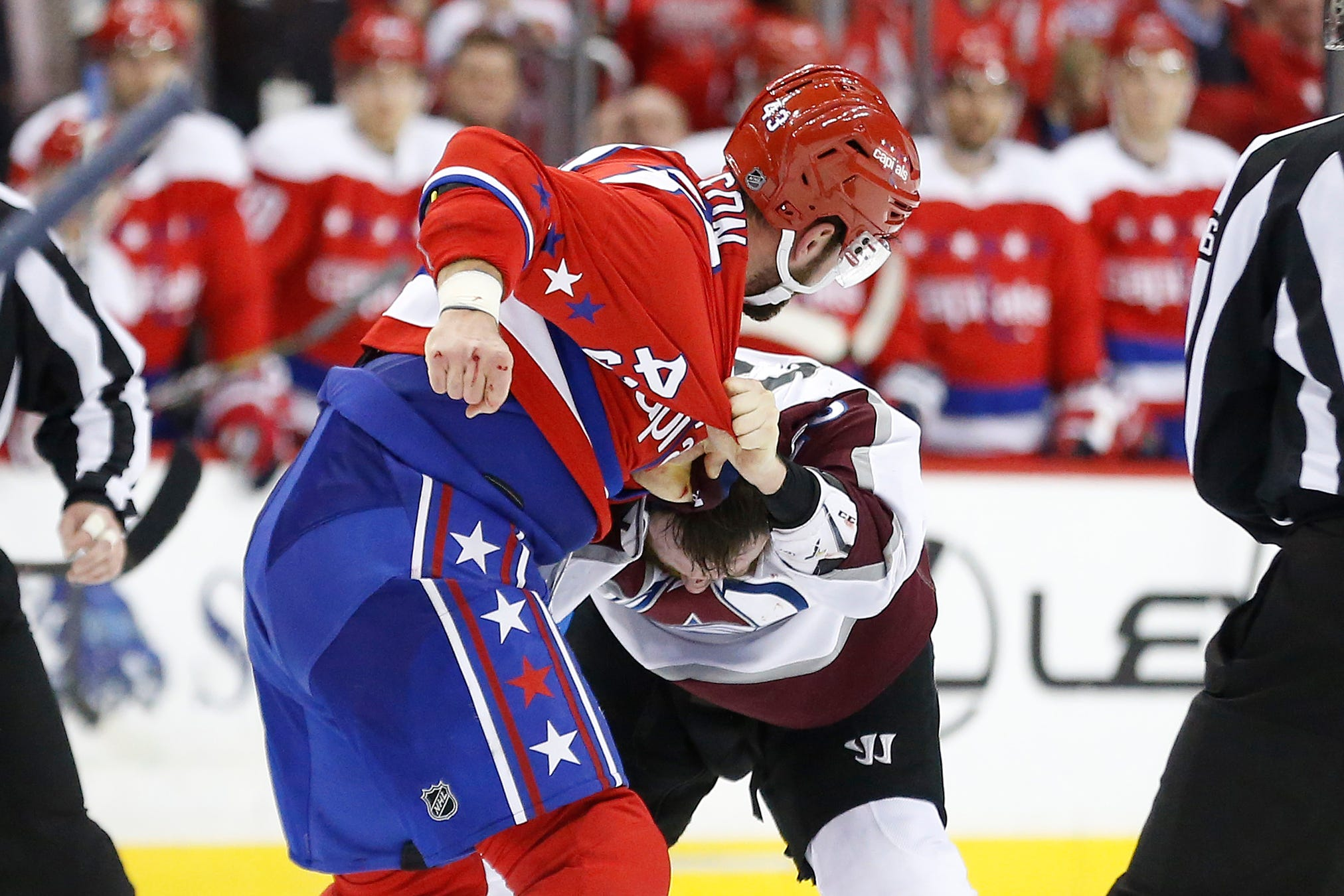 Capitals' Tom Wilson destroys Avalanche's Ian Cole in bloody fight after questionable hit