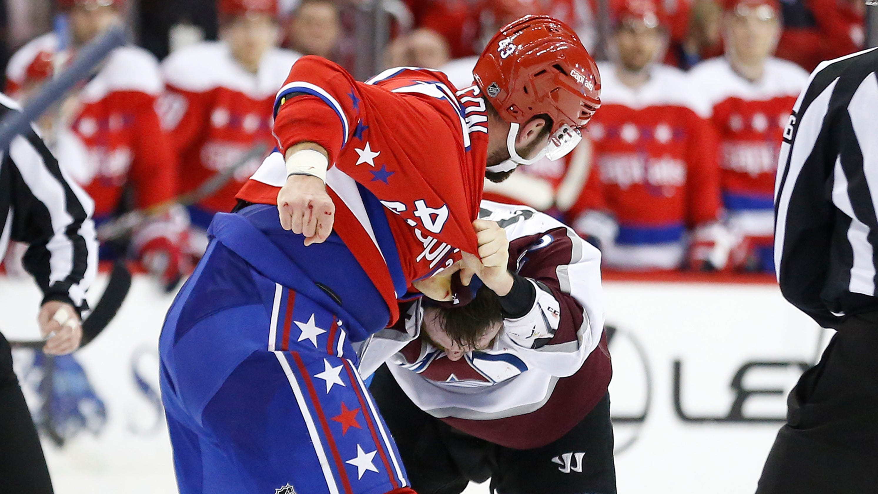 e2841f2d7 Capitals  Tom Wilson wrecks Avalanche player in fight after late hit