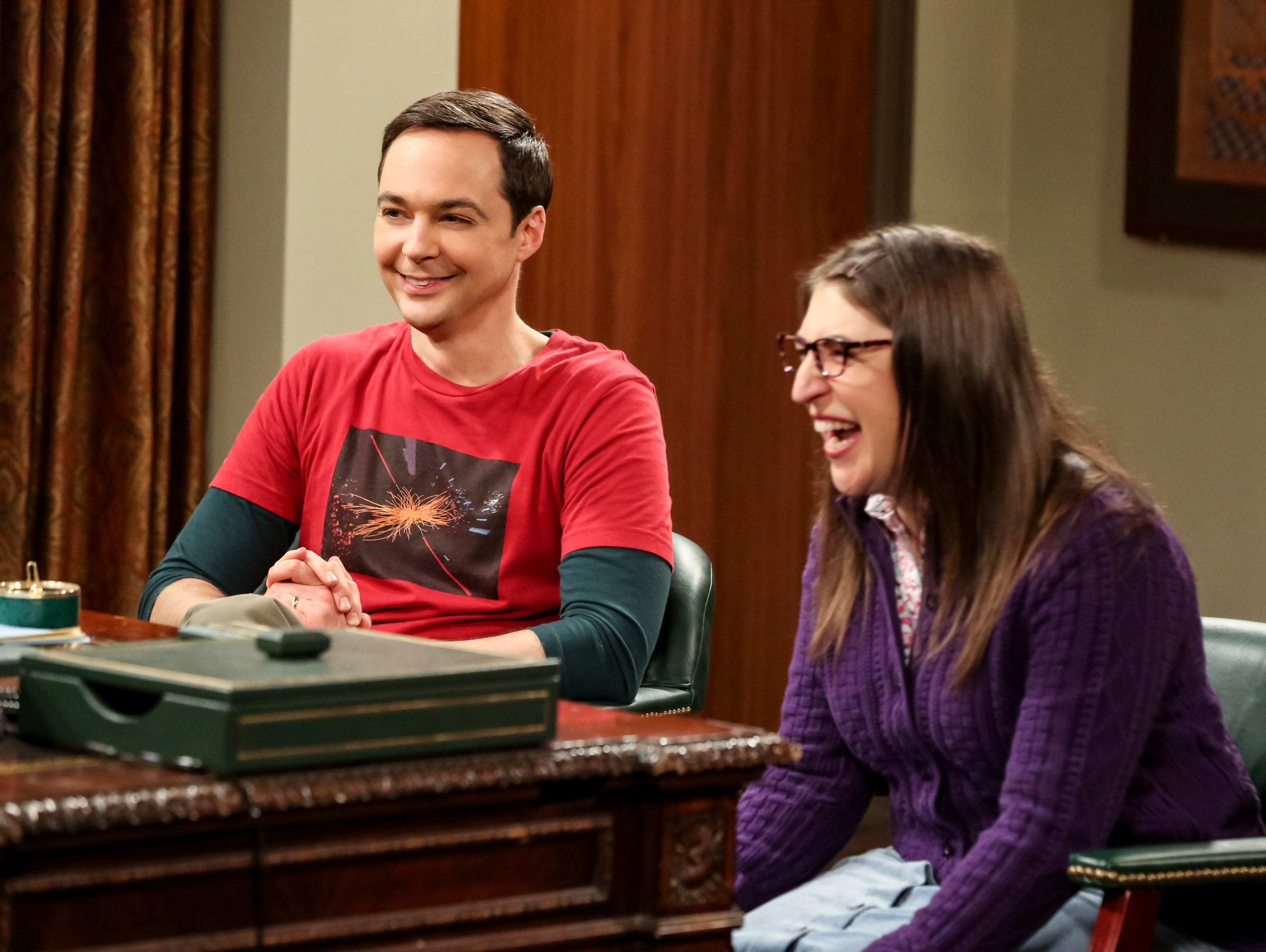 Spouses Sheldon Cooper (Jim Parsons), left, and Amy Farrah Fowler (Mayim Bialik) have been working on a physics theory that could lead to a Nobel Prize during the 12th and final season of CBS's 'The Big Bang Theory.'