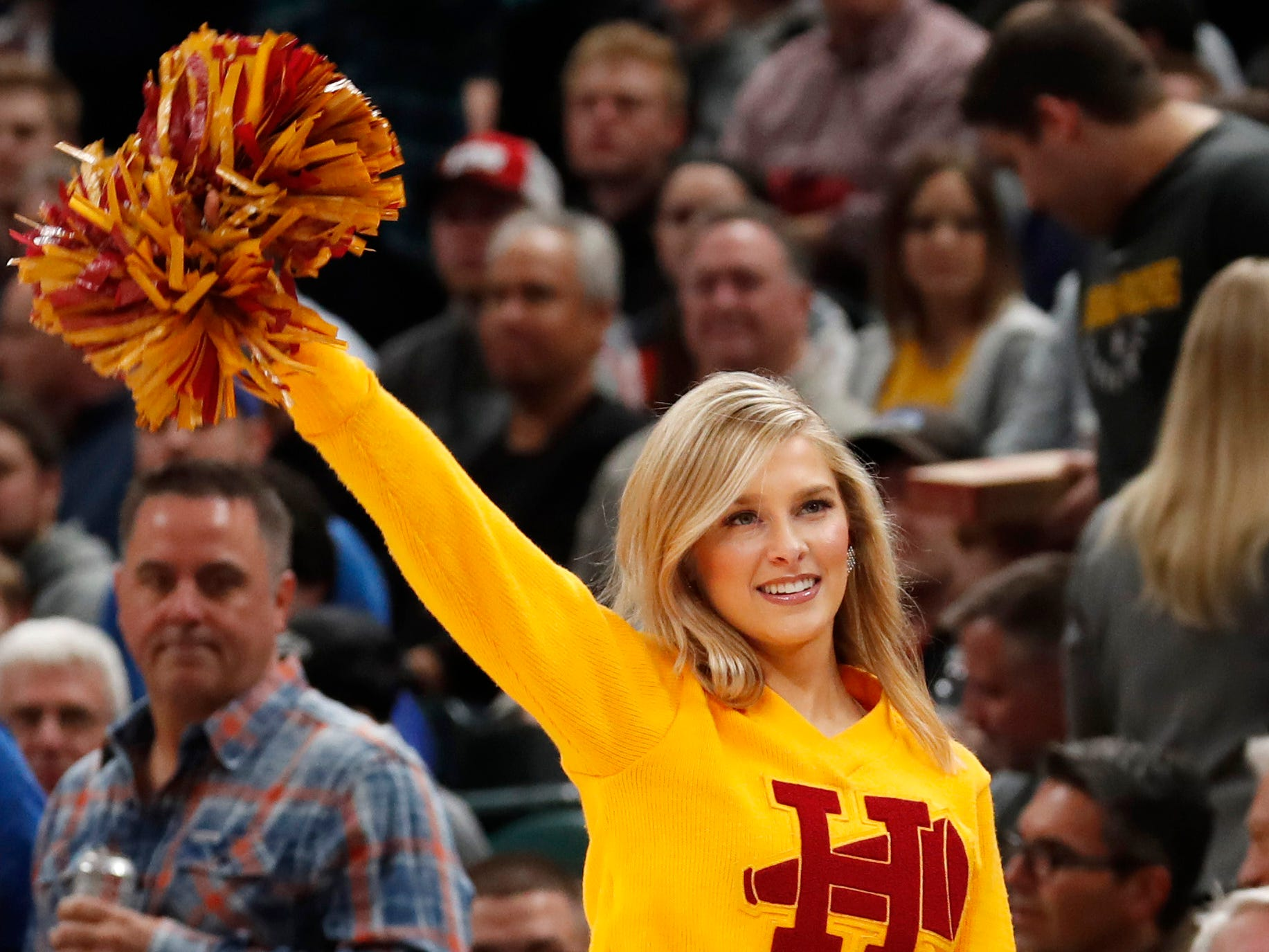 Feb. 7: An Indiana Pacers Pacemate performs a cheer before the game against the Los Angeles Clippers at Bankers Life Fieldhouse.