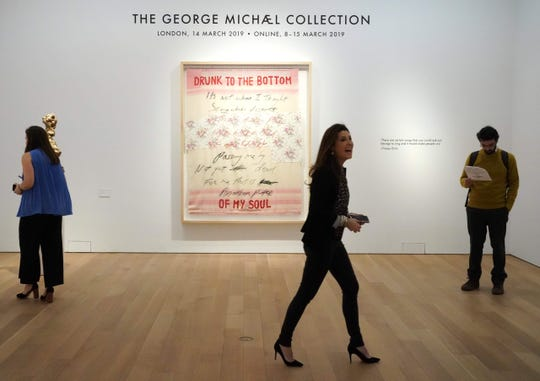 """The work of artist Tracey Emin, """"Drunk to the Bottom of My Soul, 2002,"""" at Christie's New York during a press preview on Feb. 8, 2019, of The George Michael Collection to be auctioned in London next month."""