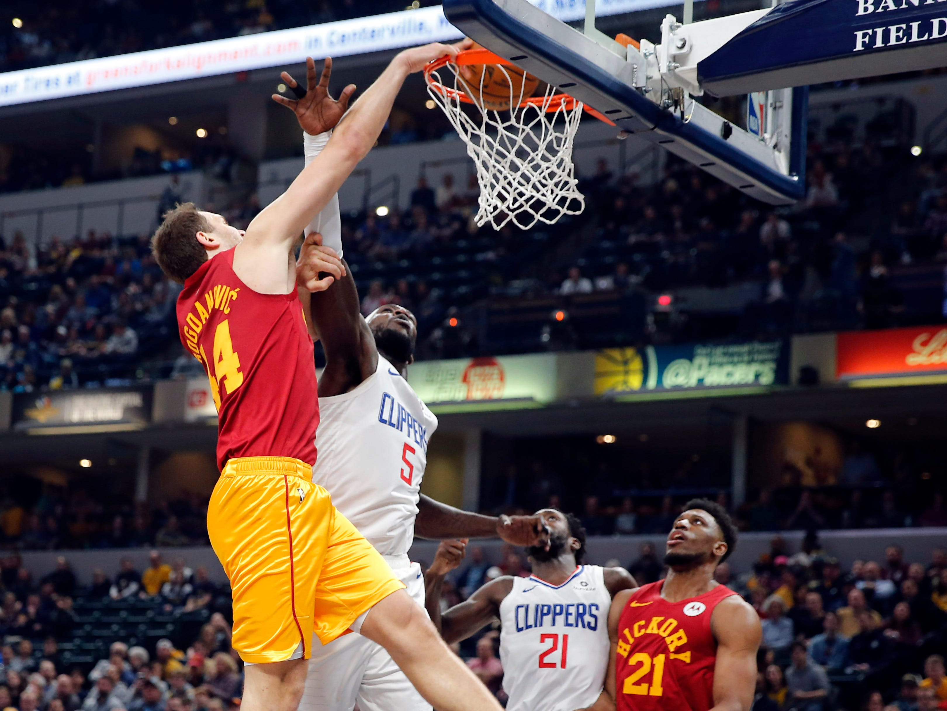 Feb. 7: Indiana Pacers forward Bojan Bogdanovic dunks against the Los Angeles Clippers.