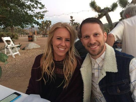Natalee and Jonathan King pose together in Joshua Tree, California.