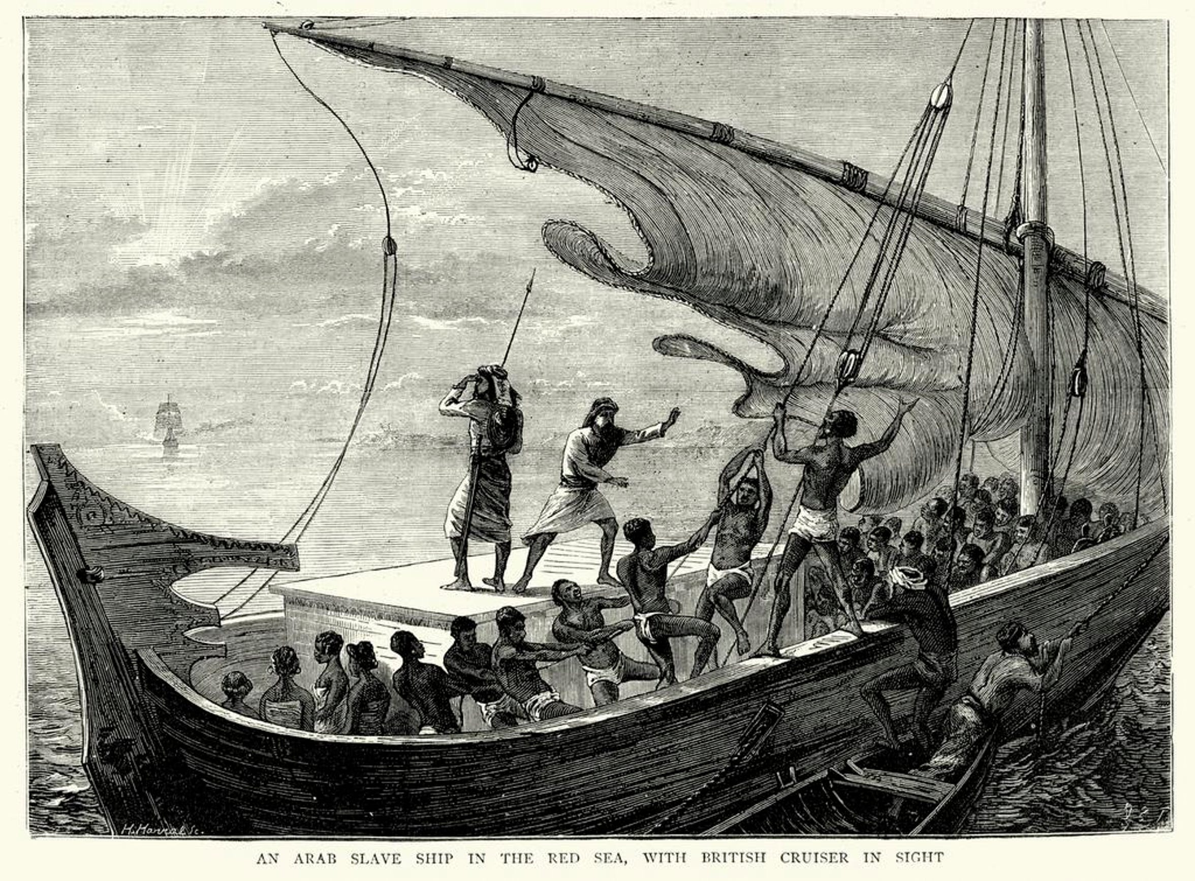 Although the transatlantic slave trade is most familiar to Americans, enslaved Africans were also taken to the Middle East and Asia. This illustration from 1874 shows an Arab slave ship fleeing a British cruiser in the Red Sea.