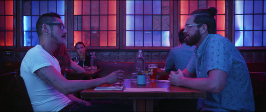The dates are beautifully lit for a cinematic show, but they feel authentic because daters aren't coached to say outrageous things. Pictured: Ep. 3, Lex's date.